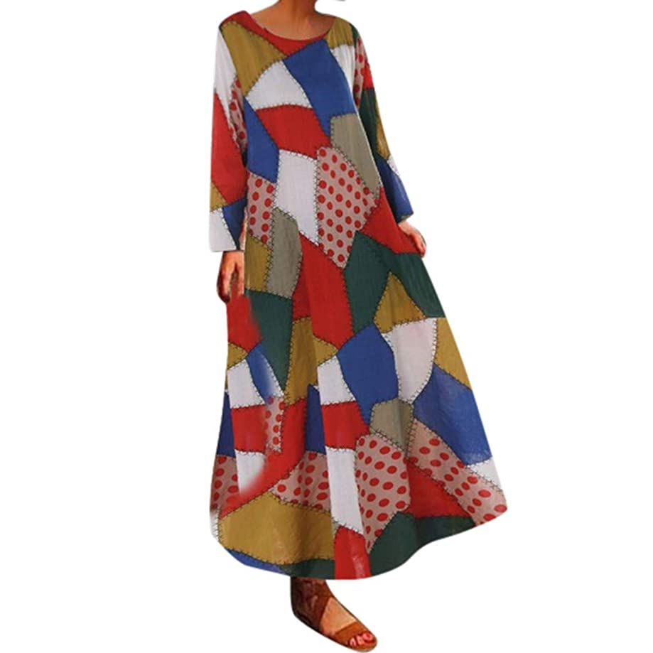 Big Sale Yetou?Women Half Sleeve Color Block Multicolor Loose Bohe Beach Long Robe Cotton Printed Dress