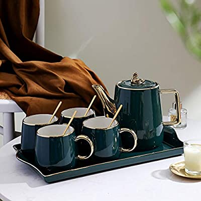 Tiamo Tea Cup Teapot Set with Tray, Emerald Ceramic Teapot Coffee Cups Set for Drinking Tea Latte Water, TeaPot and 4 cups