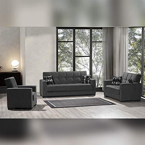 Ottomanson ARM-SB-19 Armada Dark Gray Fabric Upholstery Sofa Sleeper Bed With Storage, 36' x 88' x 38'