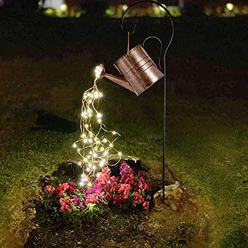Garden Decor Solar Lights Outdoor Watering Can Decoration Hanging Lights Waterproof for Lawn Patio Garden Courtyard Table Yard Pathway Walkway Outdoor, Warm White LED