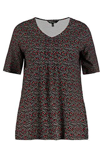 ULLA POPKEN Große Größen Fältchenshirt mit Herzprint, A-Line T-Shirt, Nero (Nero 72725510), 42-44 Donna