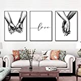 16'x20' Love and Hand in Hand Wall Art Canvas Print Poster,Simple Fashion Black and White Sketch Art Line Drawing Decor for Home Living Room Bedroom Office(Set of 3 Unframed)