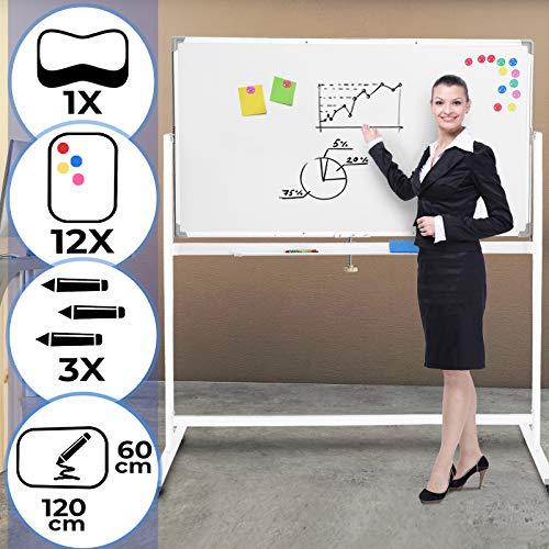 Whiteboard Mobiles - Größenwahl, magnetisch, beschreibbar, drehrbar, rollbar, Set inkl. Marker, Schwamm, Alurahmen, Stiftablage, Weiß - Magnettafel, Magnetwand, Magnetboard, Stativdrehtafel
