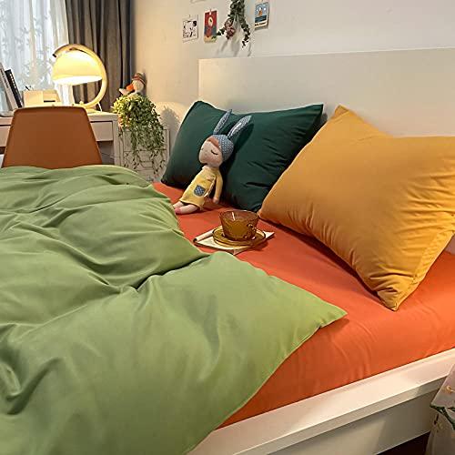 Traje de Cuatro Piezas de Contraste de Color Puro con Funda de Almohada Cama de Viento Simple Duvet Funda Dormitorio Estudiante-Green Verde + Naranja_150 * 200m