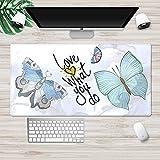 NZTCRFP Alfombrilla De Ratón De Gran Mariposa Azul De Dibujos Animados 800X400X3MM Mouse Pad Gaming XXL para Ratón Y Teclado Impermeable Y Antideslizante para Gaming Oficina Casa Colegio Escritorio