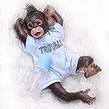 iCradle Mono Reborn 40 cm Muñecas Reborn Chimpancé Bebe Reborn Silicona Cuerpo Completo Hecha a Mano 16 Pulgadas Real Life Suave Silicona Jocko Muñecas (Blue)