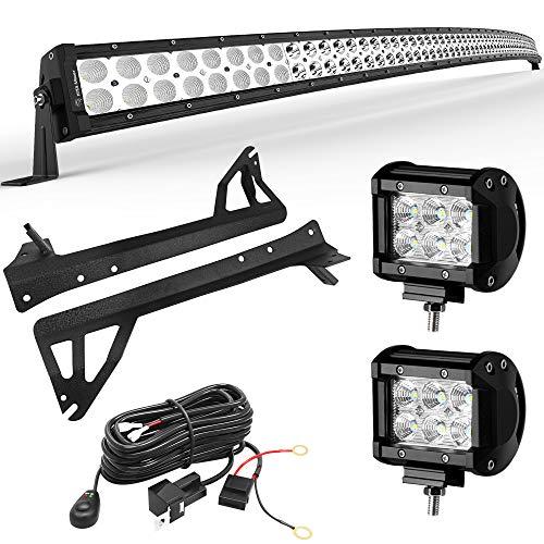 YITAMOTOR 52 Inch Curved Combo Light Bar + 2PCS 18W Spot LED Light Bar 2PCS + Mounting Brackets + Wiring Harness for JEEP JK Wrangler
