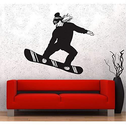 Hllhpc muurstickers, decoratie voor sport, slaapkamer, snowboard, snowboarder, dames, 63 x 56 cm