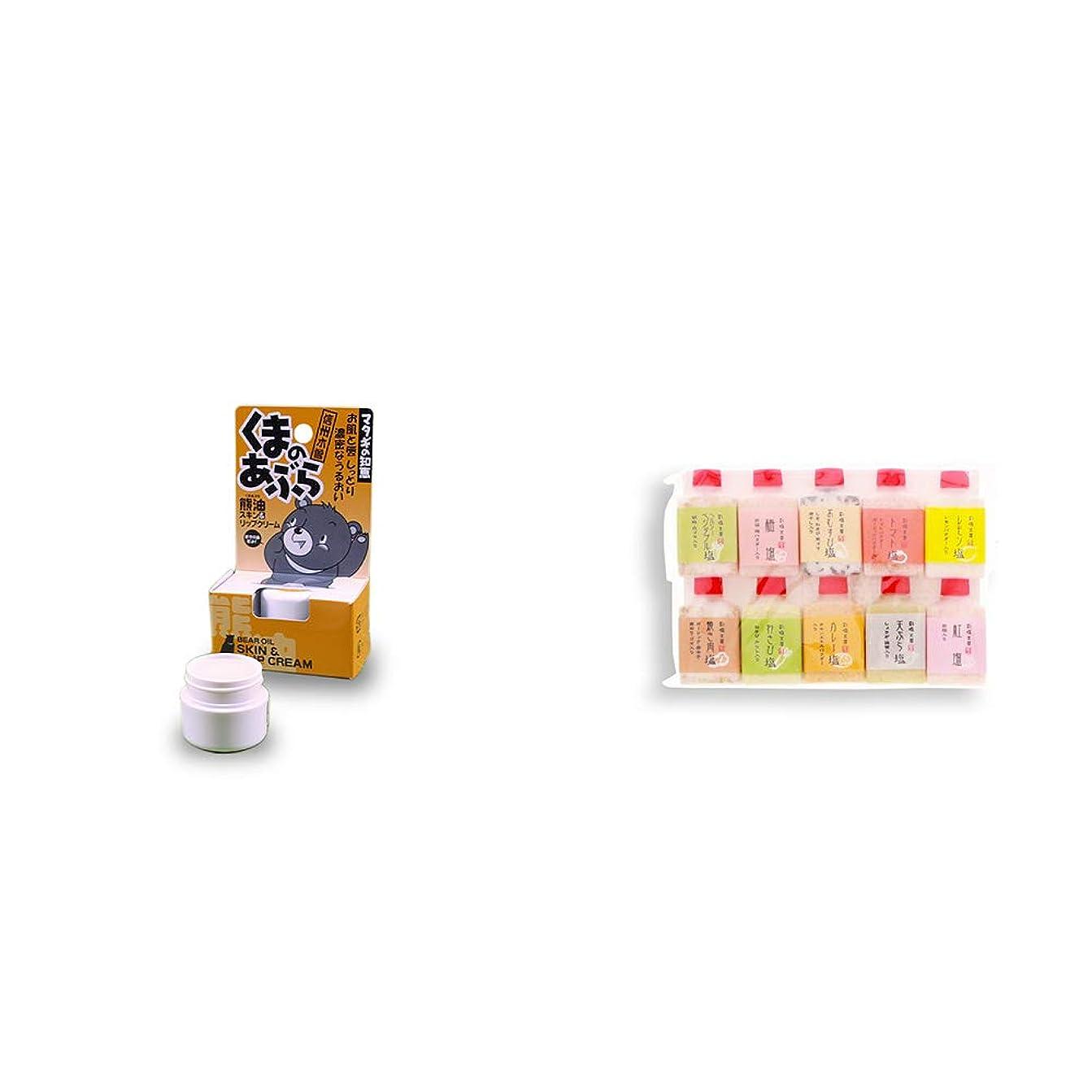 [2点セット] 信州木曽 くまのあぶら 熊油スキン&リップクリーム(9g)?塩アラカルト(10本セット)