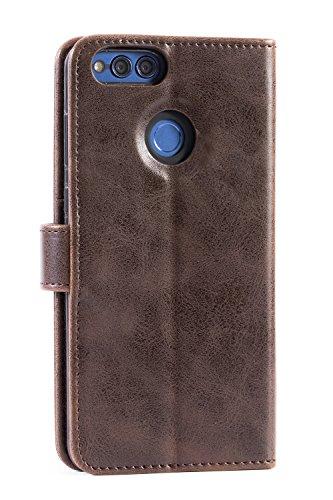 Mulbess Handyhülle für Honor 7X Hülle, Leder Flip Case Schutzhülle für Huawei Honor 7X Tasche, Vintage Braun - 2