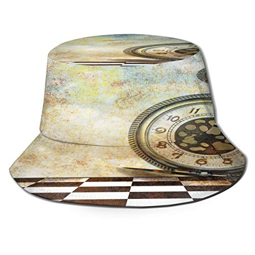 PUIO Sombrero de Pesca,Hecho de Fondo de ensueño con Reloj de Bolsillo,Senderismo para Hombres y Mujeres al Aire Libre Sombrero de Cubo Sombrero para el Sol