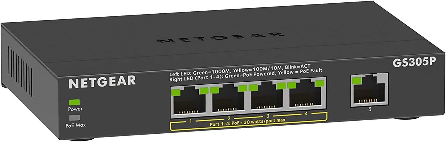 Netgear GS305Pv2 Switch Gigabit 5 Puertos 10/100/100, 4 Puertos PoE+ de 63W, Switch ethernet, Montaje de sobremesa, Caja de Metal sin Ventilador
