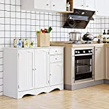 Sideboard Storage Cabinet With 3 Doors And 2 Drawers, Modern Floor Kitchen Buffet, Wooden Server Console Cupboard For Dining Room, Living Room, White