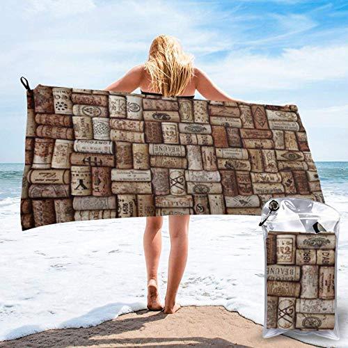 Beach Towels Corcho de vino Toalla ligera de secado rápido Toalla súper absorbente sin arena para viajes, natación, gimnasio, yoga 140X70CM