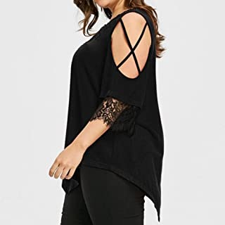T-Shirt,Polyester Chiffon Black Short Spring Summer Women Fashion Sexy Large Size Lace Off Shoulder T-Shirt Short Sleeve V-Neck Tops Clothes