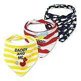CuteOn Baby Sbavare Bavaglini, Unisex 3-Pezzi Cotone Assorbente, Triangolo Bib Con Snaps Gift for Boys & Girls - Asorted (Abbigliamento)