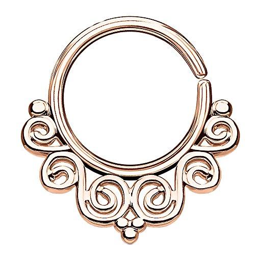 Piercingfaktor Piercing Continuous Tribal Vintage Wirbel Ring Ohr Nase Lippe Brust Intim Septum Helix Hufeisen Horseshoe Rosegold
