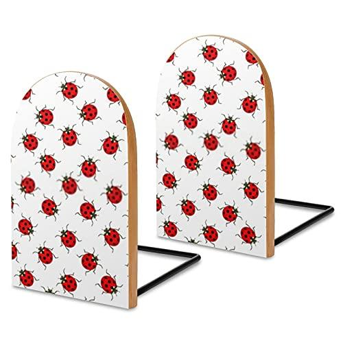 The Ladybugs-Soportes para Libros Resistentes Sujetalibros de Madera para estantes Soporte para Libros de Oficina Extremos Antideslizantes para Libros,películas,CD,3x5x3,7 Pulgadas (1 par/2 Piezas)
