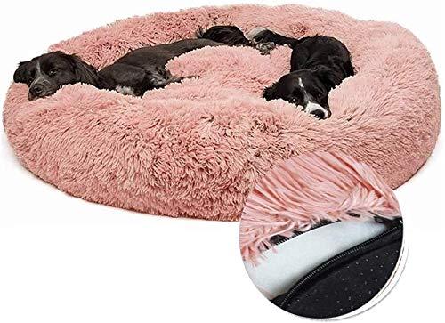 Cama para Perros Deluxe Cuddler Soft Donut Perros Sofa, Cama de Felpa Removible para Perros Medianos, Grandes (Color : Pink, Size : 100x100x20cm)