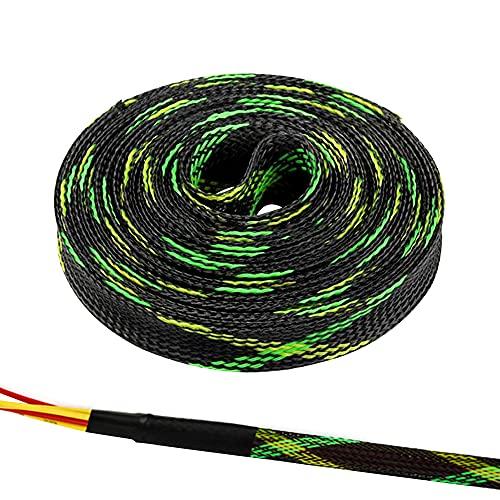 Swetup 5 Metros Funda de Cable, Funda de Cable Trenzado Protección del Cable de la Cubierta del...