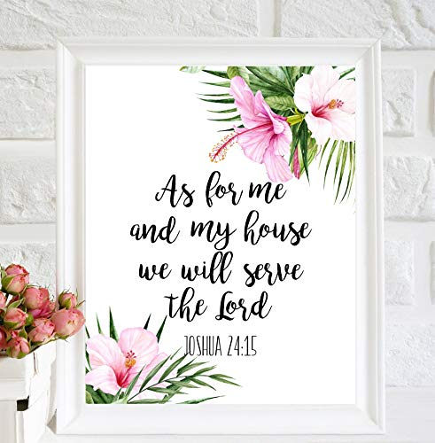As for me and My House we Will Serve The Lord Joshua 2415 Bibelzitat Printable Schrift Wanddeko Poster BibelSchrift Wandbild