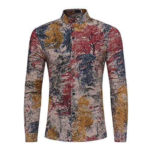 Camisa para hombre de manga larga informal, de primavera, manga larga, delgada, guapa, para hombre Rojo rosso XXL