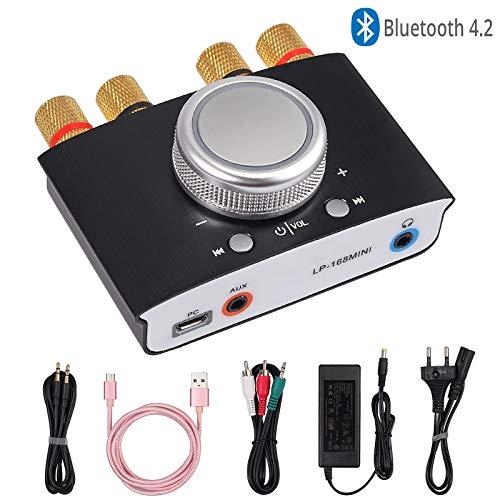 ESYNiC Amplificatore di Potenza Bluetooth 50W + 50W con Alimentatore HiFi Amp Amplifier Controllo Volume Amplificatore Digitale Wireless Ricevitore Audio 2 Canale 50W con Ingresso AUX USB Bluetooth