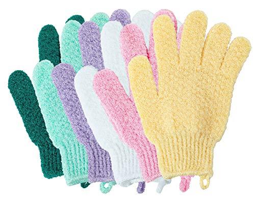 KAKOOI Exfoliating Bath Scrubbing Gloves - Dead skin cells remover(6Pieces of Pack,Multi-Color)