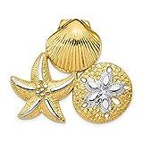 Toque bicolore en or bicolore 14 carats avec étoiles de mer et de sable