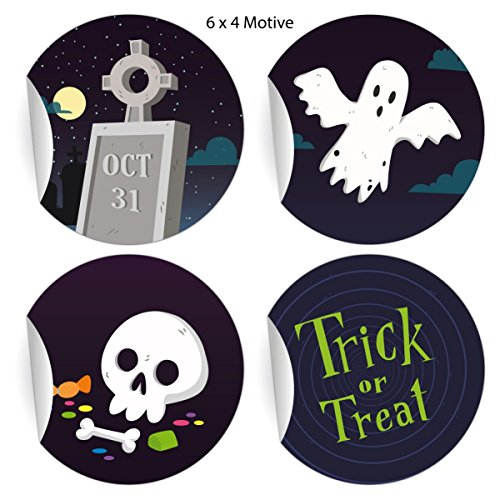 24 coole Halloweenstickers om te griezelen met spin en heksenbezem Happy Halloween, blauw, mat papieren sticker, cadeaus, etiketten voor tafeldecoratie, pakketten, brieven (ø 45 mm; 4 motieven) 5 x 24 stickers