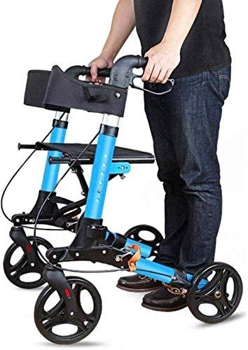 ZTBXQ Gehen Stehen Geländer Haltegriff Home Care Griff AssistSaftey Hand Gripstick Faltbare 4 Räder Rollator Walker mit Sitz Aluminium AdjustableGehhilfe