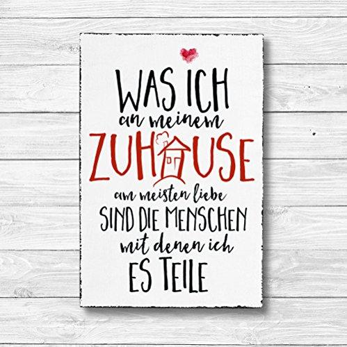Was ich an meinem Zuhause am meisten liebe - Dekoschild Wandschild Holz Deko Wand Schild 20x30cm Holzdeko Holzbild Geschenk Mitbringsel Geburtstag