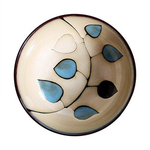 Liuwubing Scodella in Ceramica Retro Snack dipinte a Mano Vassoio da Dessert Forno Stoviglie Tagliatelle Cereali Pizza Piatto zuppa Blu 20x6cm