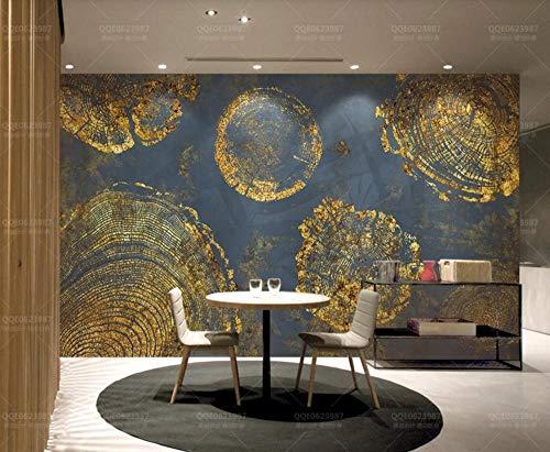 Papel Pintado Pared 3D Fotomurales Anillos Abstractos Vintage Textura De Lámina De Oro Vintage Murales 3D Papel Tapiz Decorativos Wallpaper,400cmX280cm
