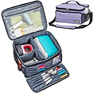 HOMEST Carrying Case for Cricut Joy and Cricut Easy Press Mini, Portable Tote Storage Organizer Bag with Handle for Pens and Craft Tool Set, Purple