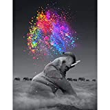 HQdeal 35 * 25cm DIY 5D Diamante Pintura Kits, Elefante 5D Diamond Painting Completo Bordado Punto de Cruz Diamante Craft Decoración del hogar