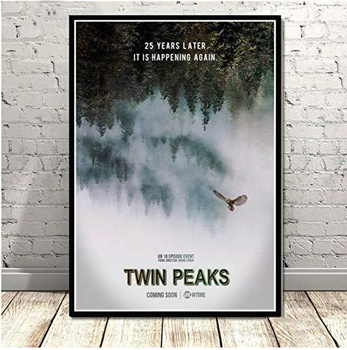 yhnjikl Twin Peaks TV Series Montre Classique Film Anime Affiche Et Gravures Toile Peinture Art Mur Photos pour Le Salon Décor À La Maison 40X60 Cm sans Cadre