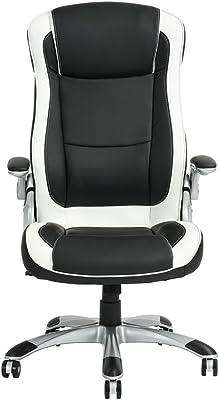 FurnitureR Silla de Oficina Boss Brazo Ajustable Cuero Sintético Diseño Ergonómico Silla Ordenador