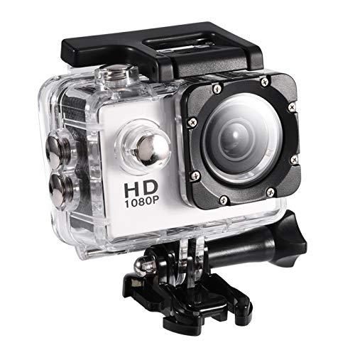 Cámara Impermeable de DV, videocámara de la cámara de la acción de los Deportes de Ciclo al Aire Libre Impermeable de 7 Colores Mini DV(Blanco)