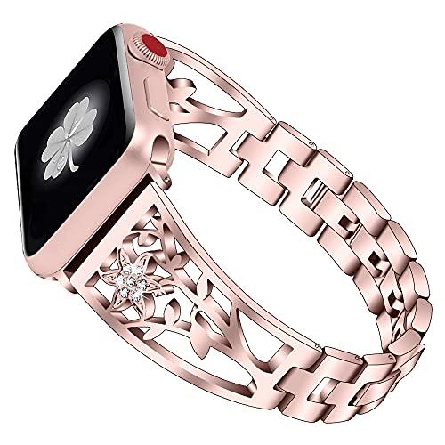 CHENPENG Correa Compatible con Apple Watch Pulsera de Metal Brillante Banda de Metal Brillante Ajustable con Pulsera de Diamantes de imitación,Rosado,38MM