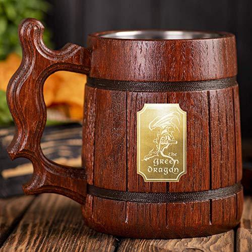 The Green Dragon Beer Mug, LOTR Gift, Green Dragon Wooden Beer Stein, Lord Of The Rings Beer Tankard, Hobbit Mug, Gift for Him