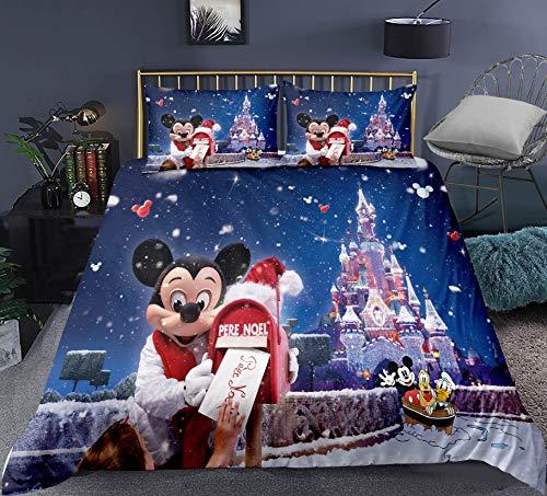 Funda Nórdica Para Niños Juego De Cama De Navidad De Mickey De Disney 3D (con 2 Fundas De Almohada) Ropa De Cama De Navidad De Mickey Mouse Súper Suave Y Cómoda (220 x 240 cm)