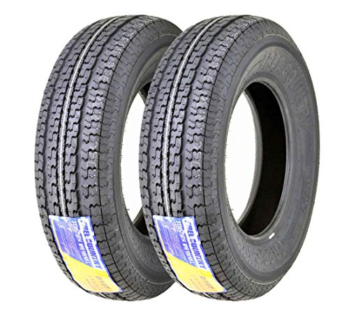 Set of 2 Premium FREE COUNTRY Trailer Tires ST185/80R13 8PR/Load Range D w/Scuff Guard
