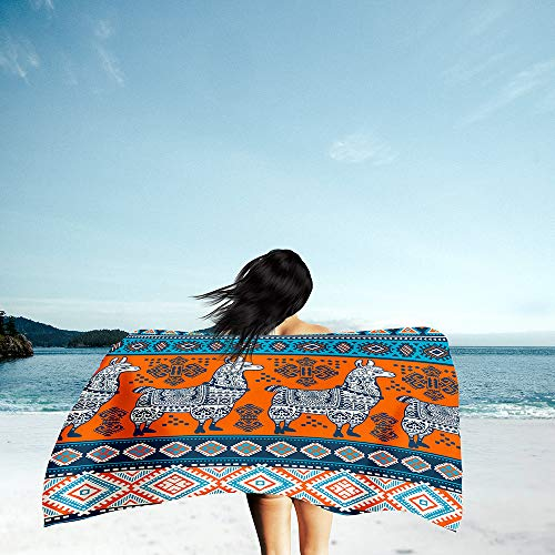 Surwin Grande Toalla de Playa de Microfibra Toalla a Impresión de Secado Rápido Súper Absorbente Natación Toalla de Arena Antiadherente para Playa, Bohemia Impresión (Oveja Naranja,70x150cm)