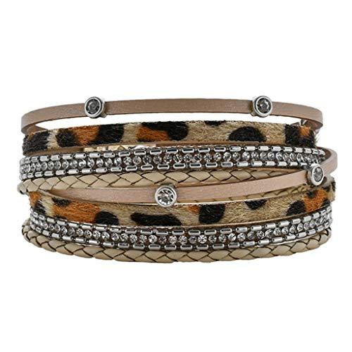 Janly - Pulsera de piel para mujer, diseño de leopardo, diseño de leopardo, color, talla L