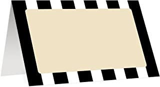 Classic Stripe Place Cards (50 Pack) Double Sided Black & White Striped Placecard Escort Blank Fill In Name Table Tented Folded Seat Tag Food Buffet Label Graduation Decoration 3.5