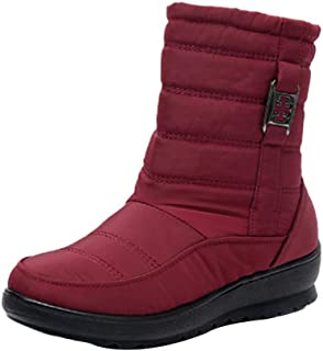 Fulision Women's Short Winter Boots Solid Color Lightweight Plush Round Toe Flat Ankle Bootie