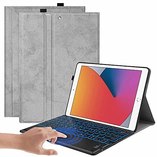 iPad Pro10.5/Air3/10.2 タッチパッドキーボード Bluetooth キーボード バックライト ワイヤレスキーボード TPUケース ペンシル収納付き ブルートゥース Bluetooth キーボード スタンド カバー (グレー)