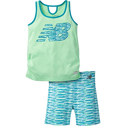 New Balance Girls' Performance Tank and Bike Short, Agave/Ozone Blue, 12 Months
