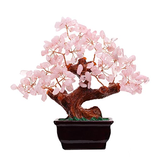 Feng Shui Natural Rose Pink Quartz Crystal Money Tree Bonsai Style Decoration for Wealth and Luck